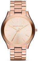 Michael Kors Midsize Rose Gold Tone Slim Runway Threehand Watch 42mm - Lyst