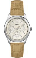 Timex® Womens Ameritus Beige Crocograin Leather Strap 35mm T2p070um - Lyst