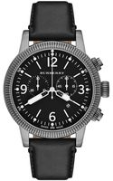 Burberry Mens Swiss Chronograph Black Leather Strap  - Lyst