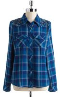 Guess Cotton Studded Plaid Shirt - Lyst