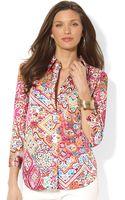 Lauren by Ralph Lauren Three quarter sleeve Paisley print Shirt - Lyst