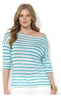 Lauren by Ralph Lauren Threequarter-sleeve Striped Linen Knit - Lyst