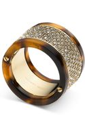 Michael Kors Goldtone Tortoise Pave Barrel Ring - Lyst