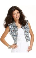 Teen Vogue Tribalprint Denim Vest - Lyst