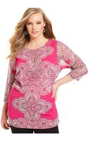Inc International Concepts Three-Quarter-sleeve Paisley-Print Kurta - Lyst
