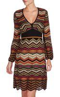 M Missoni Woven Chevronstripe Dress Multicolor - Lyst