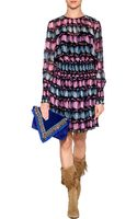 Anna Sui Navymulti Scattered Print Silk Dress - Lyst