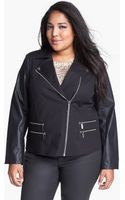 Michael by Michael Kors Knit Faux Leather Moto Jacket - Lyst