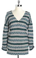 Lucky Brand Printed Vneck Top - Lyst