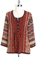 Lucky Brand Womens Plus Mixed Print Top - Lyst