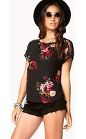 Forever 21 Romantic Floral Lace Top - Lyst