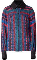 Anna Sui Paisley Stripe Blouse in Sapphire Multi - Lyst