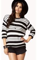 Forever 21 Striped Openknit Sweater - Lyst