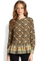 Suno Silk Cotton Printed Peplum Top - Lyst