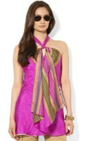 Lauren by Ralph Lauren Sleeveless Striped Silk Halter Tunic - Lyst