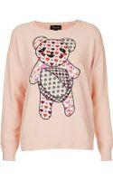 Topshop Knitted Teddy Motif Jumper - Lyst
