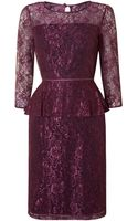 Adrianna Papell Front Lace Panel Peplum Dress - Lyst