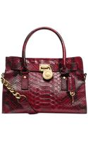 Michael Kors Hamilton East West Anaconda Satchel - Lyst