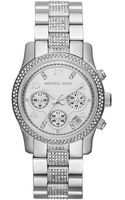 Michael Kors Midsize Silver Color Stainless Steel Runway Chronograph Glitz Watch - Lyst
