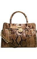 Michael Kors Hamilton East West Python Satchel - Lyst