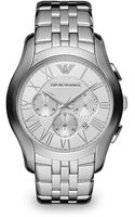Emporio Armani Round Stainless Steel Chronograph Watch - Lyst