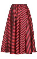 Miu Miu Striped Satin-twill Midi Skirt - Lyst