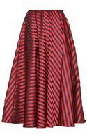 Miu Miu Striped Satin-twill Midi Skirt - Lyst