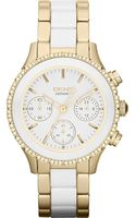 DKNY Dkny Brooklyn Goldplated and Ceramic Chronograph Watch - Lyst