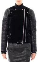 Givenchy Velvet Leather Tweed Biker Jacket - Lyst