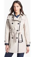 London Fog Double Breasted Zip Trench Coat with Detachable Hood Liner - Lyst