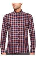 Hartford Slim Fit Vintage Herringbone Plaid Shirt - Lyst