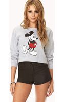 Forever 21 Cropped Mickey Mouse Sweatshirt - Lyst