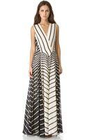 Halston Heritage A Line Stripe Gown - Lyst