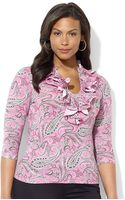 Lauren by Ralph Lauren Plus Three Quarter Sleeved Paisley Cotton Ruffle Front Top - Lyst