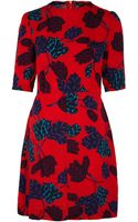 Marc By Marc Jacobs Red Mareika Tulip Print Silk Dress - Lyst