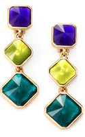 Oscar de la Renta Faceted Clipon Triple Drop Earrings - Lyst