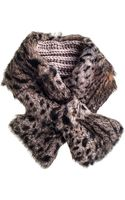 Black.co.uk Leopard Rabbit Fur and Alpaca Collar - Lyst