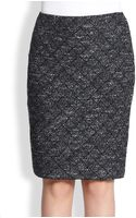 St. John Latticepatterned Metallic Boucle Skirt - Lyst
