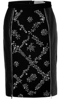 Preen By Thorton Bregazzi Leatherwool Embellished Dotty Skirt in Black - Lyst