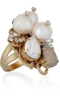 Bijoux Heart Goldplated Swarovski Crystal and Pearl Ring - Lyst
