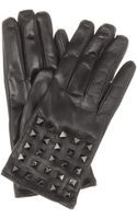 Valentino Rockstud Noir Leather Gloves - Lyst