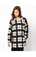French connection Check Bunny Coat - Lyst