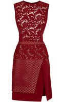 J. Mendel Mixed Lace and Textured Crepe Sleeveless Dress - Lyst