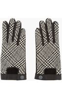 Rag & Bone Black and White Woven Chevron Leather Gloves - Lyst