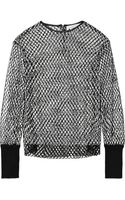 Dion Lee Leather Trimmed Mesh Sweater - Lyst