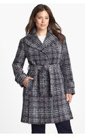 DKNY Belted Plaid Tweed Coat - Lyst