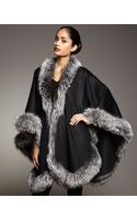 Sofia Cashmere Natural Silver Fox Fur Trimmed Cashmere Cape Black - Lyst