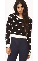 Forever 21 Cropped Polka Dot Sweater - Lyst
