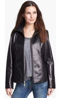 Ellen Tracy Leather Scuba Jacket - Lyst