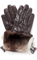 Georges Morand Rabbit Fur Cuff Leather Gloves - Lyst